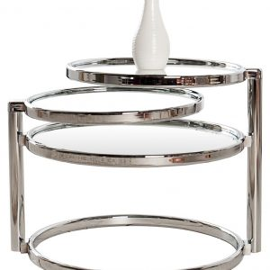Moebel Living Skleněný konferenční stolek Walter 55x50 cm s chromovou podnoží - Výška43 cm- Šířka move 55 - 155 cm