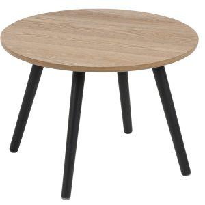 SCANDI Jasanový konferenční stolek Stanfield 50 cm s černou podnoží - Výška36 cm- Max. nosnost move 20 kg