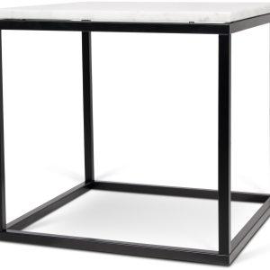 Porto Deco Bílý mramorový konferenční stolek Xanti s černou podnoží 50 x 50 cm - Výška50 cm- Šířka move 50 cm