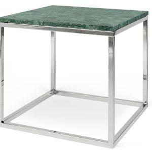 Porto Deco Zelený mramorový konferenční stolek Xanti s chromovou podnoží 50 x 50 cm - Výška50 cm- Šířka move 50 cm