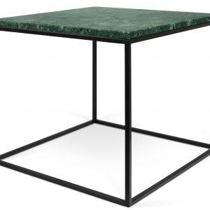 Porto Deco Zelený mramorový konferenční stolek Amaro s černou podnoží 50 x 50 cm - Výška45 cm- Šířka move 50 cm