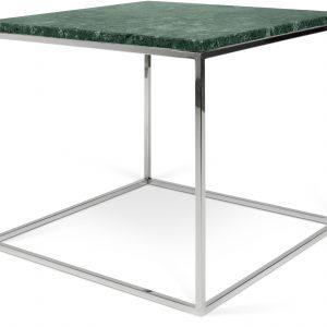 Porto Deco Zelený mramorový konferenční stolek Amaro s chromovou podnoží 50 x 50 cm - Výška45 cm- Šířka move 50 cm