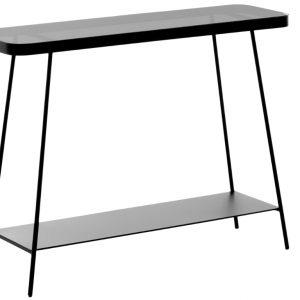 Černý kovový toaletní stolek LaForma Duilia 110x85 cm se skleněnou deskou - Výška85 cm- Šířka 110 cm