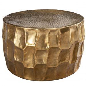 Moebel Living Zlatý kovový konferenční stolek Dario 68 cm - Výška40 cm- Průměr 68 cm
