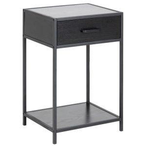 SCANDI Černý kovový noční stolek Darila 63 x 42 cm - Výška114 cm- Šířka 77 cm