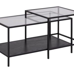 SCANDI Černý skleněný konferenční stolek Darila 90 x 55 cm - Výška55 cm- Šířka 90 cm