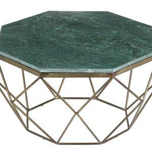 Moebel Living Zelený mramorový konferenční stolek Centurio 69 cm - Šířka69 cm- Výška 38 cm