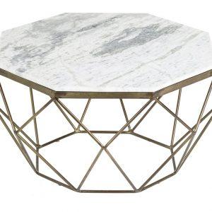 Moebel Living Bílý mramorový konferenční stolek Centurio 69 cm - Šířka69 cm- Výška 38 cm