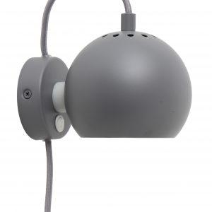 Světle šedá matná kovová nástěnná lampa Frandsen Ball 12 cm - Výška10 cm- Šířka 16 cm