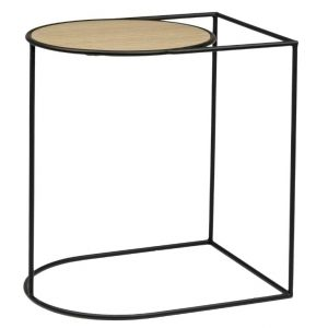 Černý kovový odkládací stolek Bizzotto Everitt 45 x 35 cm s dubovou deskou - Šířka50 cm- Hloubka move 45 cm