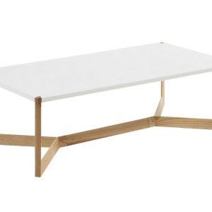 Bílý dřevěný konferenční stolek Laforma Duplex s jasanovou podnoží 120 x 60 cm - Šířka120 cm- Hloubka 60 cm