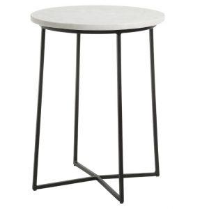 Bílý mramorový kulatý odkládací stolek LaForma Burnet s černou podnoží Ø 41 cm - Výška53 cm- Průměr 41 cm