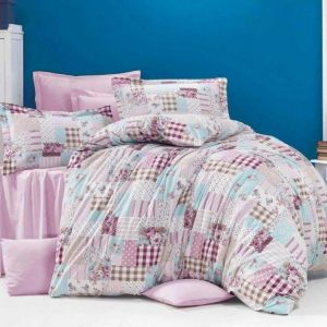 Kvalitex Francouzské krepové povlečení 200x200 + 2x 70x90 cm - Patchwork růžový - Materiál100% bavlna- Rozměr 70 x 90 cm