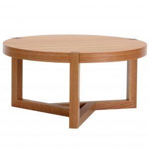 Dubový kulatý konferenční stolek Woodman Brentwood 82 cm - Výška36 cm- Deska move Dubová dýha