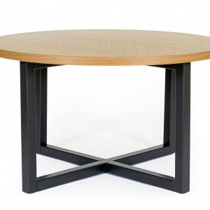 Dubový rýhovaný kulatý konferenční stolek Woodman Camden s březovou podnoží 80 cm - Výška45 cm- Deska move Dubová dýha