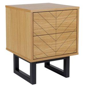 Dubový rýhovaný noční stolek Woodman Camden s březovou podnoží 40 x 40 cm - Výška53 cm- Podnož move Lakované březové dřevo