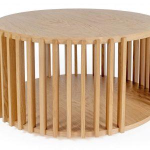 Dubový kulatý konferenční stolek Woodman Drum Ø 83 cm - Výška42 cm- Deska move Dubová dýha