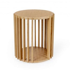 Dubový kulatý konferenční stolek Woodman Drum Ø 53 cm - Výška58 cm- Deska move Dubová dýha