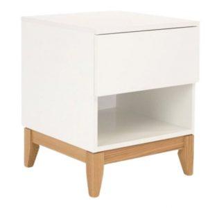 Bílý noční stolek Woodman Blanco s dubovou podnoží 55 cm - Výška55 cm- Podnož move Masivní dubové dřevo