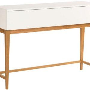 Bílý toaletní stolek Woodman Blanco s dubovou podnoží 120x85 cm - Výška85 cm- Korpus move Laminát