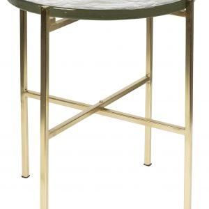 Zlatý kovový odkládací stolek DUTCHBONE VIDRIO 40 cm - Výška45 cm- Průměr 40 cm