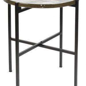Černý kovový odkládací stolek DUTCHBONE VIDRIO 40 cm - Výška45 cm- Průměr 40 cm
