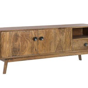 Hnědý dřevěný TV stolek Bizzotto Sylvester 152 x 40 cm - Výška55 cm- Šířka 152 cm