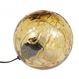 Jantarová skleněná stolní lampa DUTCHBONE LUNE 25 cm - Výška25 cm- Průměr 25 cm