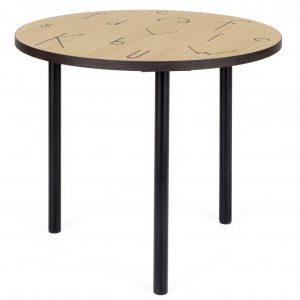 Dubový kulatý konferenční stolek Woodman Arty I. s kovovou podnoží 50 cm - Výška40 cm- Deska move Dubová Dýha