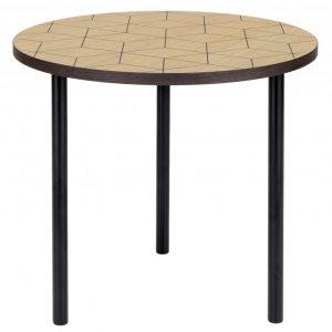 Dubový kulatý konferenční stolek Woodman Arty II. s kovovou podnoží 50 cm - Výška40 cm- Deska move Dubová dýha