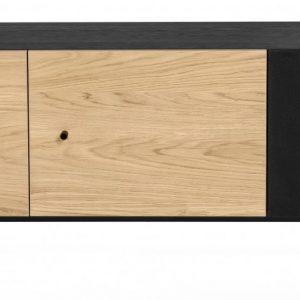 Dubový TV stolek Woodman Jugend s kovovou podnoží 142 x 42 cm - Výška90 cm- Šířka 142 cm