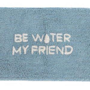 Modrá bavlněná koupelnová předložka LaForma Nandi Be Water My Friend 40 x 60 cm - Výška1 cm- Šířka 40 cm