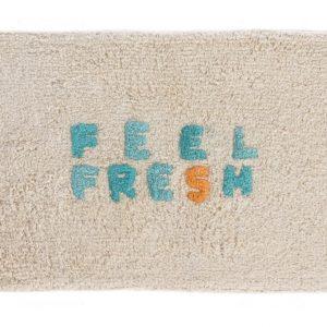 Béžová bavlněná koupelnová předložka LaForma Nandi Feel Fresh 40 x 60 cm - Výška1 cm- Šířka 40 cm