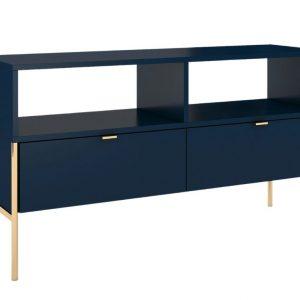 Tmavě modrý TV stolek Skandica Polka se zlatou podnoží 120 x 37 cm - Šířka120 cm- Hloubka 37 cm