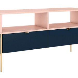 Modro růžový TV stolek Skandica Polka se zlatou podnoží 120 x 37 cm - Šířka120 cm- Hloubka 37 cm
