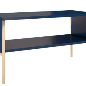 Tmavě modrý konferenční stolek Skandica Polka se zlatou podnoží 80 x 37 cm - Šířka80 cm- Hloubka 37 cm