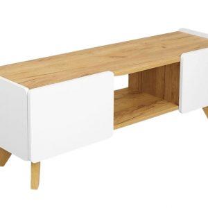 Bílý TV stolek Skandica Lett s dubovou podnoží 135 x 40 cm - Šířka135 cm- Hloubka 40 cm