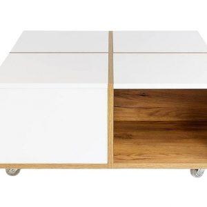 Bílý konferenční stolek Skandica Korsa s dubovým dekorem 80 x 80 cm - Šířka80 cm- Hloubka 80 cm