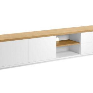 Bílý dubový TV stolek LaForma Abilen 200 x 44 cm - Šířka200 cm- Hloubka 36 cm