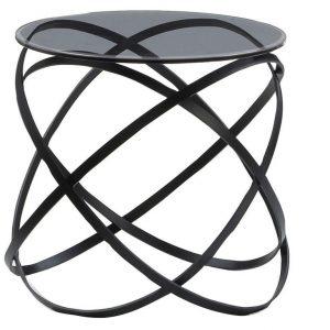 Černý kulatý kovový odkládací stolek Miotto Paola 49 cm - Výška50 cm- Průměr 49 cm
