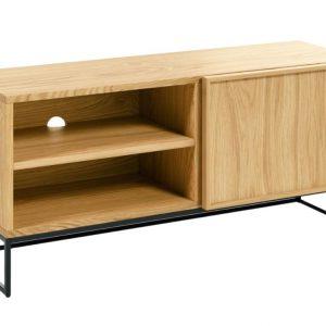 Dubový TV stolek LaForma Taiana I. s kovovou podnoží 112 x 42 cm - Šířka112 cm- Hloubka 42 cm