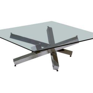 Skleněný konferenční stolek Miotto Ardigo s nerezovou podnoží 105 cm - Šířka105 cm- Hloubka 105 cm