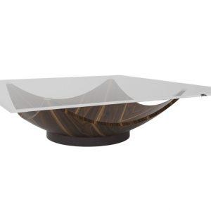 Skleněný konferenční stolek Miotto Eliseo s ořechovou podnoží 120 cm - Šířka120 cm- Hloubka 120 cm