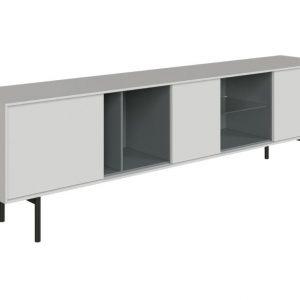 Bílý TV stolek Miotto Ostuni s kovovou podnoží 210 x 40 cm - Šířka210 cm- Hloubka 40 cm