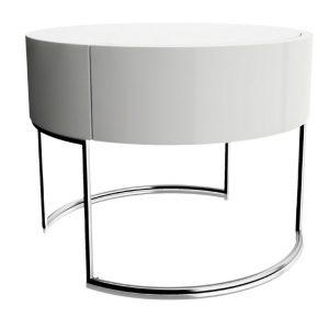 Bílý kulatý konferenční stolek Miotto Ardea s nerezovou podnoží 53 cm - Výška41 cm- Deska move Bíle lakované MDF (lesk)