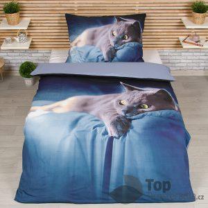 TOP 3D povlečení 140x200 70x90 Dark blue cat II - -
