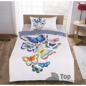 TOP 3D povlečení 140x200 70x90 Motýli v bílém - -