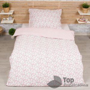 TOP Krepové povlečení Deluxe 140x200+70x90 - Růže pink - -