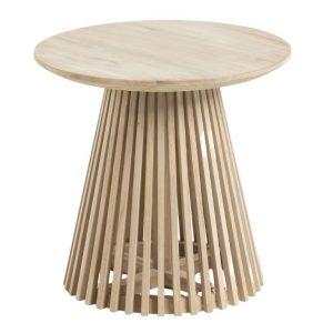 Teakový kulatý odkládací stolek LaForma Irune 50 cm - Výška48 cm- Deska move Teakové dřevo