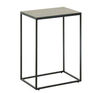 Antracitově šedý keramický odkládací stolek LaForma Rewena s kovovou podnoží 45 x 30 cm - Výška60 cm- Šířka 45 cm